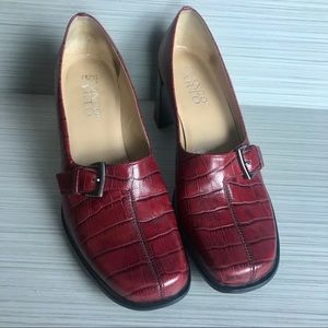 Franco Sarto Red Leather Croc Print Heels sz 8.5M